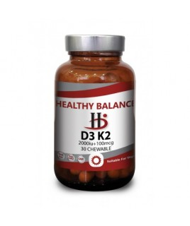 Healthy Balance D3 K2 2000 IU & 100 mcg 30 chewable tabs